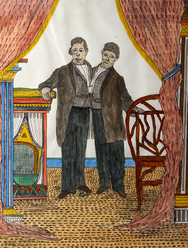 Folk Art Watercolor, The Side Show, Siamese Twins by the Utica Master Lawrence Ladd, Utica, New York, Late 19th Century Museum exhibit title cards on verso, watercolor on paper, detail view 1