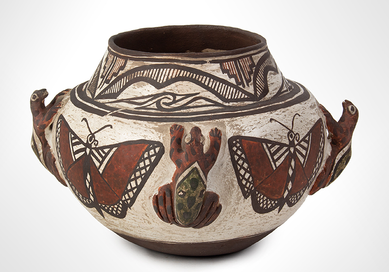 Zuni Effigy Olla, Very Fine, Applied Three-Dimensional Zuni Frog Jar Circa 1880-1900 Natural clay, red, black, and white pigments with green added post-firing, entire view 1