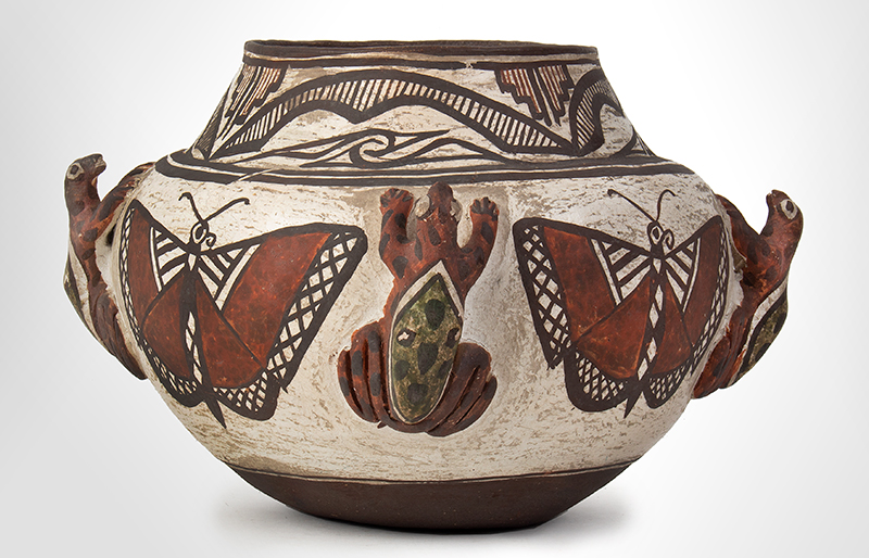 Zuni Effigy Olla, Very Fine, Applied Three-Dimensional Zuni Frog Jar Circa 1880-1900 Natural clay, red, black, and white pigments with green added post-firing, entire view 2