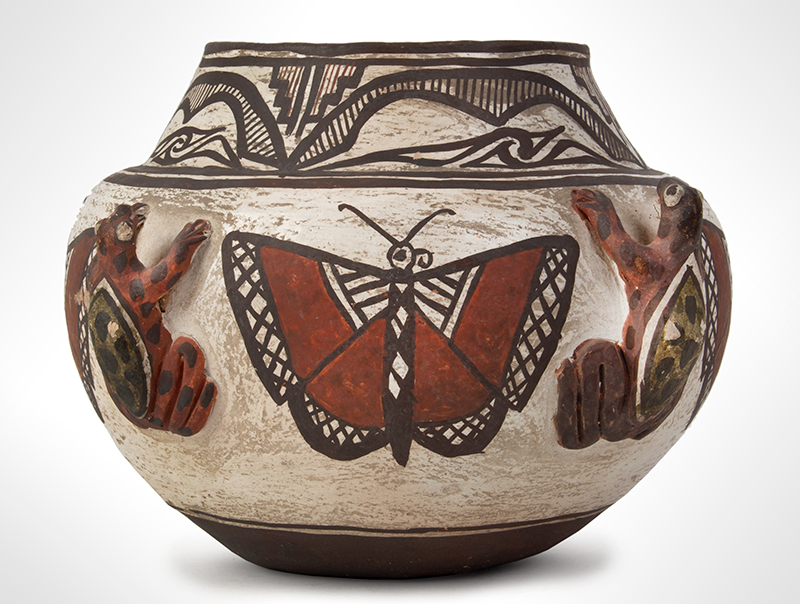 Zuni Effigy Olla, Very Fine, Applied Three-Dimensional Zuni Frog Jar Circa 1880-1900 Natural clay, red, black, and white pigments with green added post-firing, entire view 3