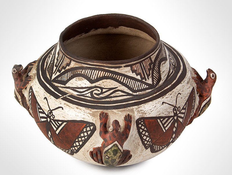 Zuni Effigy Olla, Very Fine, Applied Three-Dimensional Zuni Frog Jar Circa 1880-1900 Natural clay, red, black, and white pigments with green added post-firing, entire view 4