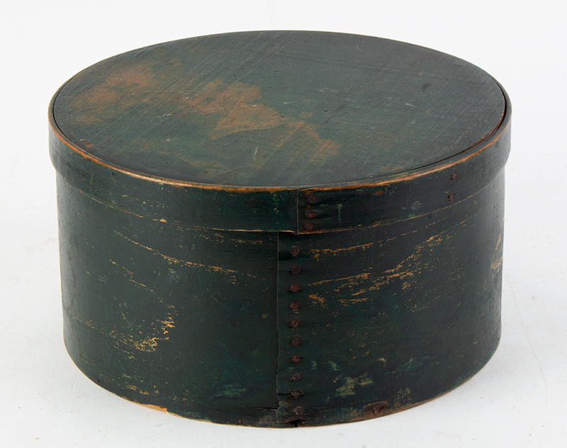 19th Century Shaker Bentwood Butter Box, Labeled, Original Paint 'Finest Grade Pure Cream Butter Made by the Shakers East Canterbury, New Hampshire', entire view 1