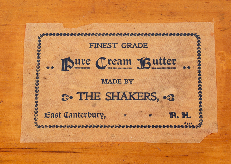 19th Century Shaker Bentwood Butter Box, Labeled, Original Paint 'Finest Grade Pure Cream Butter Made by the Shakers East Canterbury, New Hampshire', entire view 4