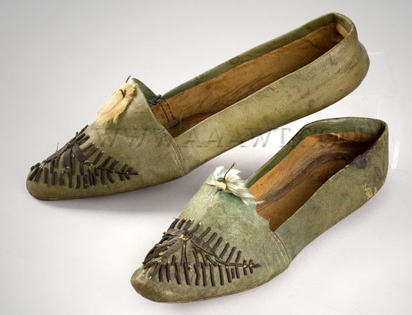 Antique Slippers, Children's, Green Leather, pair view