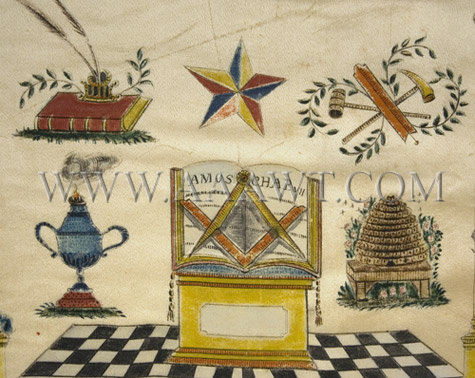 Early Masonic Painting Gouache on Silk, bottom detail