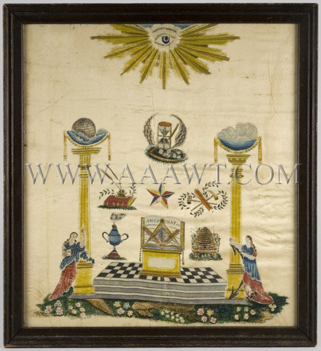Early Masonic Painting Gouache on Silk, entire view