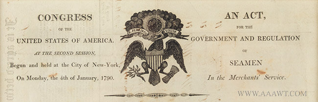 An Act For the Government and Regulation of Seamen in the Merchant's Service, 1790