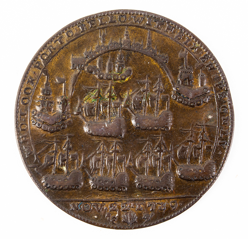 1739 Admiral Vernon, Portobello Medal w/ Multiple Portraits Struck in the 1740s by Edward Pinchbeck, Choice Very Fine, Rarity-6, 37mm.  Admiral Vernon took Porto Bello with 6 ships, 22 November 1739, side 2
