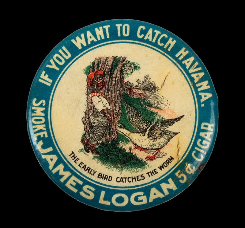 Vintage Advertising, James Logan Cigars, Round Celluloid Pocket Mirror, entire view