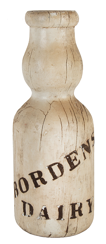 Vintage Trade Sign, Carved Wood Sales Stimulator, Borden's Dairy Milk Bottle, Original Paint, entire view