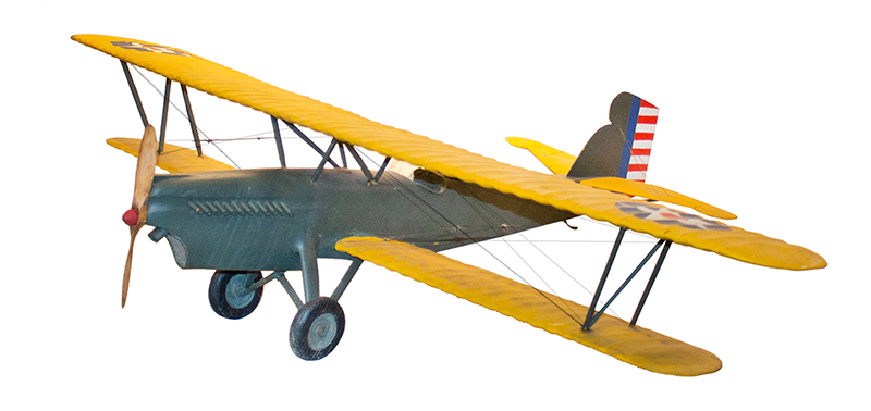Model Airplane, Army Biplane, Carved and Painted, Fine Original Condition Curtiss Falcon WWI US Army Air Corps Biplane, Full View