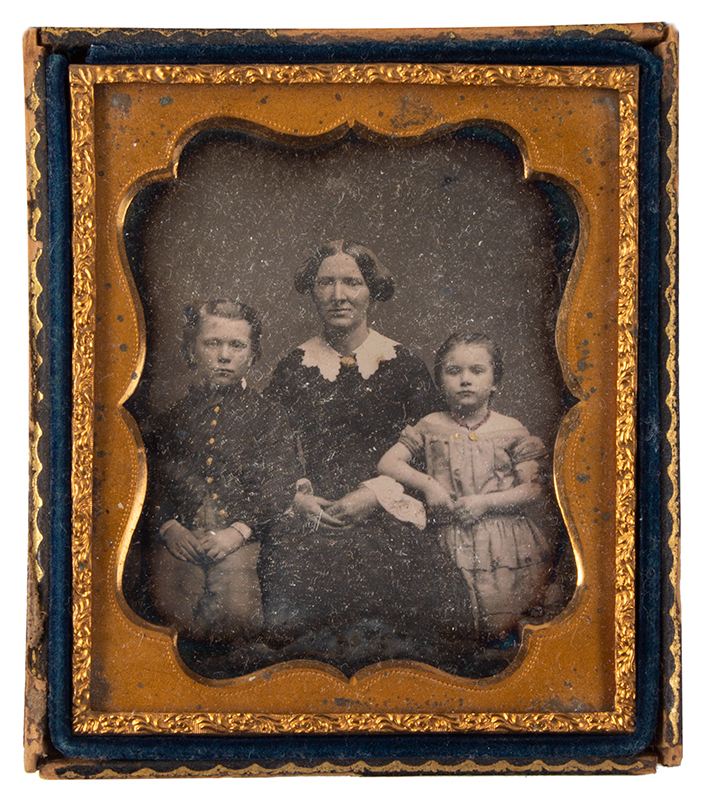 Daguerreotype, Mother and Two Children, Sixth Plate, entire view