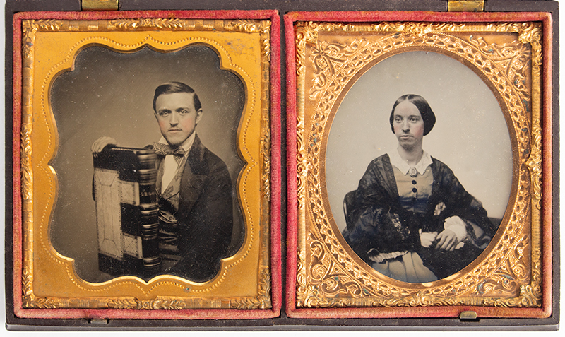 Double Ambrotype Case with Portrait Images Back mark label of E.L. Wires Ambrotype and photograph Artist, Milford, Mass. The case with label of; Littlefield, Parsons & Co., patented 1856 and 1857, entire view 1