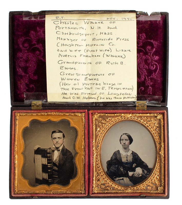 Double Ambrotype Case with Portrait Images Back mark label of E.L. Wires Ambrotype and photograph Artist, Milford, Mass. The case with label of; Littlefield, Parsons & Co., patented 1856 and 1857, entire view 2