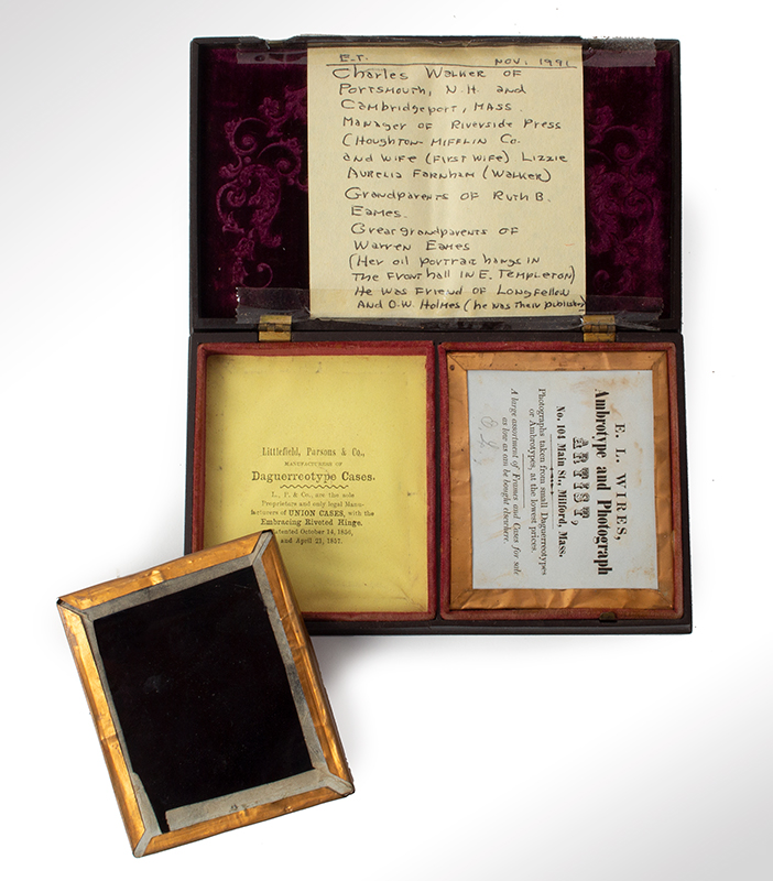 Double Ambrotype Case with Portrait Images Back mark label of E.L. Wires Ambrotype and photograph Artist, Milford, Mass. The case with label of; Littlefield, Parsons & Co., patented 1856 and 1857, entire view 3