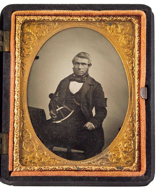 Ambrotype, Ships Master with Ebony Octant, Anonymous, 1850s to Mid-1860s, entire view