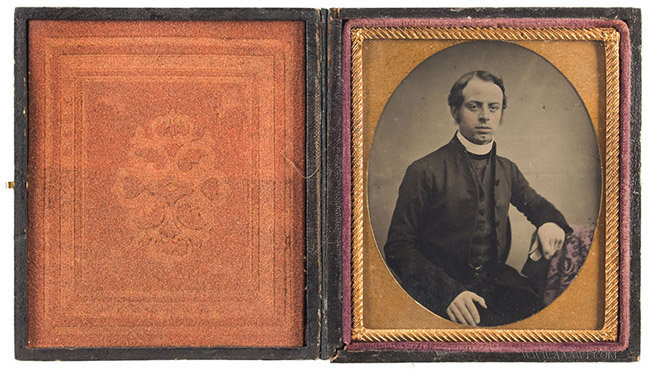 Ambrotype, Clergyman Wearing White Collar, Holding a Book Anonymous, Nineteenth Century, entire view 2