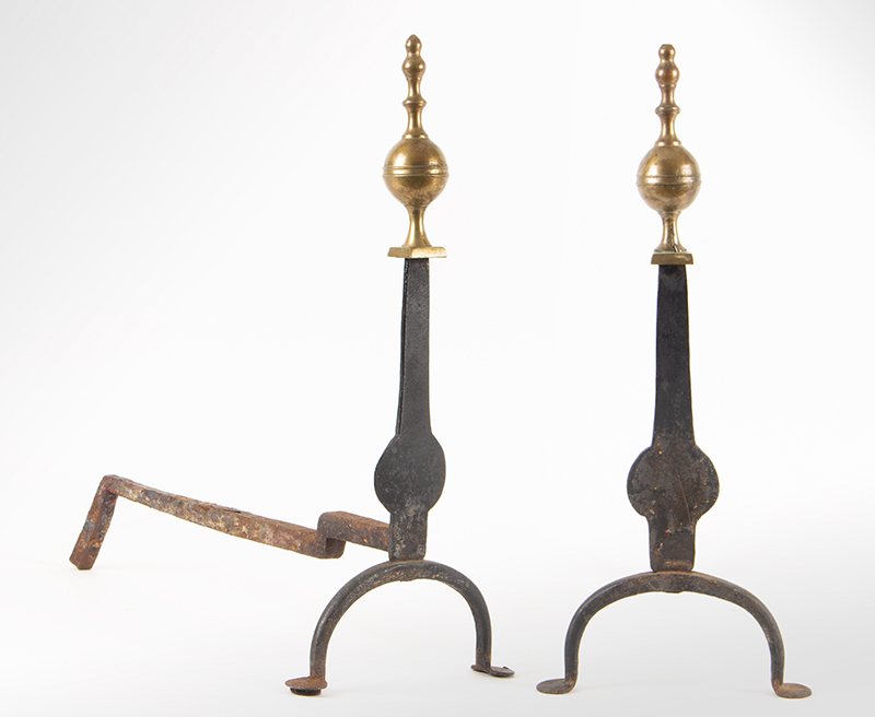 Antique, Andirons, Brass and Iron, Knife Blade, Penny Feet American, Circa 1770-1800