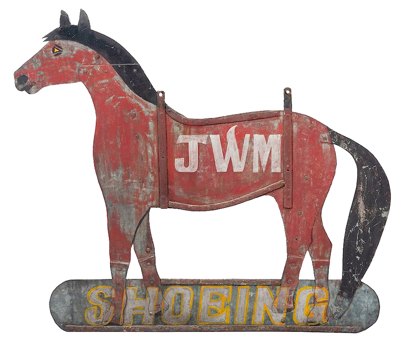 Antique Farrier's Trade Sign, Silhouette of Horse, Original Paint  American, Unknown Maker   Iron and galvanized sheet metal, entire view