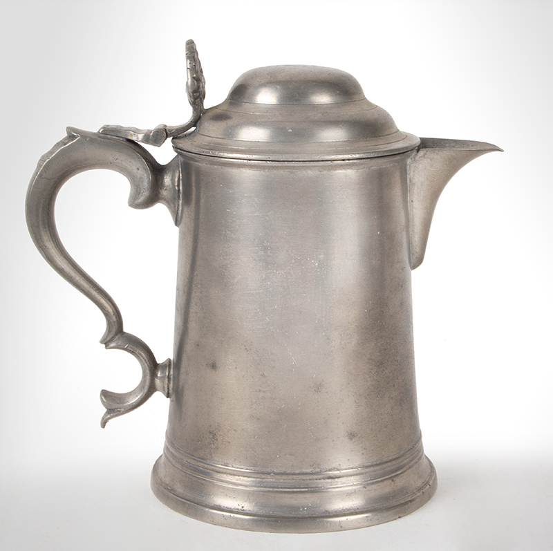 Antique Spouted Dome-Lid Pewter Tankard by Richard Yates, London, Circa 1775, entire view