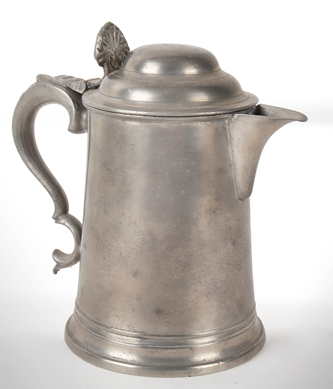 Antique Spouted Dome-Lid Pewter Tankard by Richard Yates, London, Circa 1775, angle view