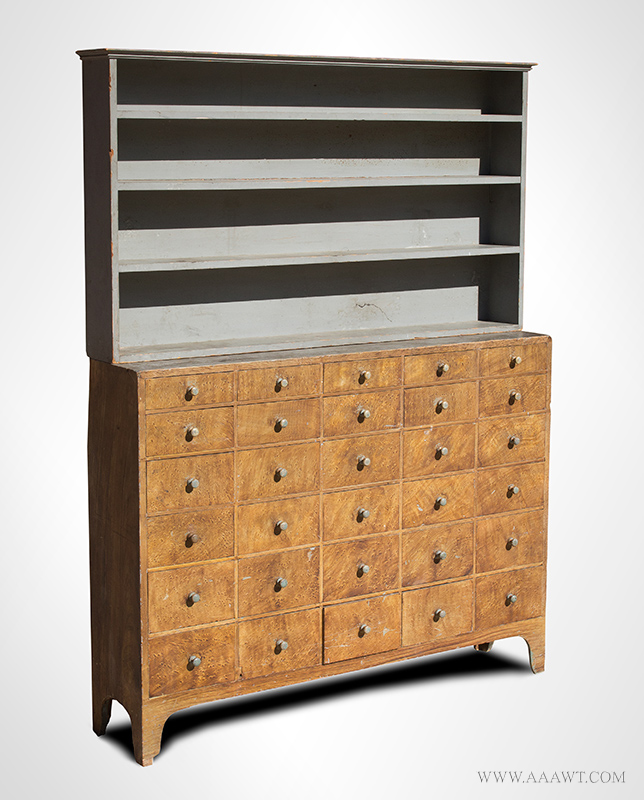 Nineteenth Century Apothecary Cupboard, Paint Decorated Step-Back, Open-Top, 4 Shelves, and 30 Drawers New Hampshire, Circa 1834-1840 Pine, entire view