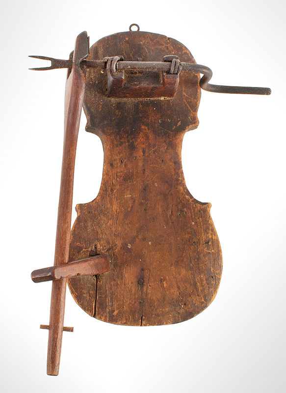 Antique Apple Peeler, Folk Art, Violin Form, Best Natural Patina, Early New England, 19th Century Maple, birch and pine, entire view 1
