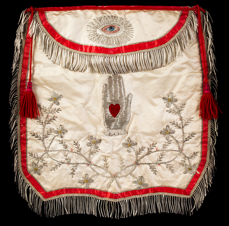 Odd Fellows Silk Apron, Heart & Hand, Embroidered, Fine American, 19th Century, sans frame view