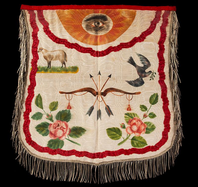 Odd Fellows Silk Apron Perrysburg, Ohio, 1856 A painted fraternal apron, metallic silver thread on silk, entire view sans frame