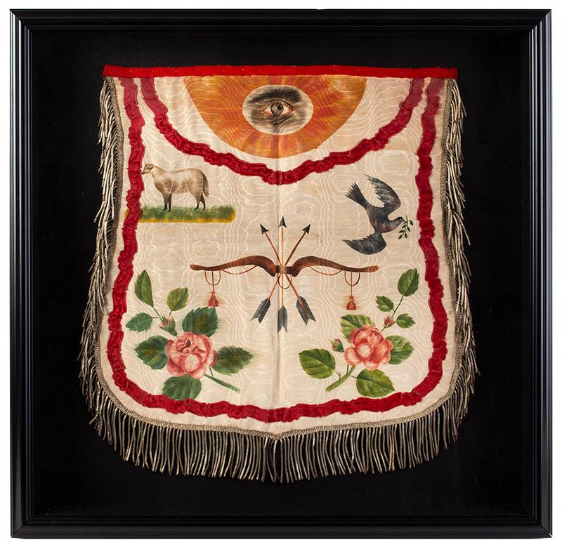 Odd Fellows Silk Apron Perrysburg, Ohio, 1856 A painted fraternal apron, metallic silver thread on silk, entire view