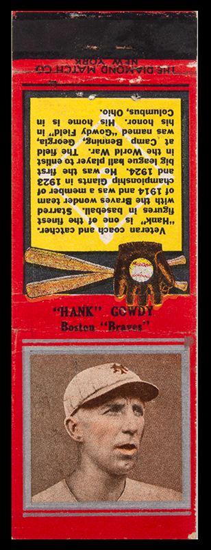 Hank Gowdy Archive, 1914 World Series, Most Valuable Player, WWI Hero, matchbook view