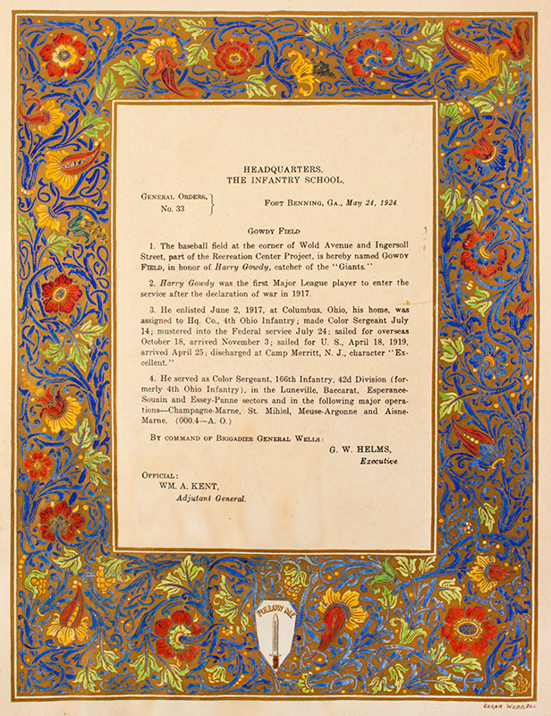 Hank Gowdy Archive, 1914 World Series, Most Valuable Player, WWI Hero, Presentation Document