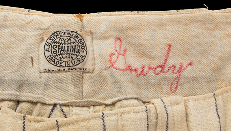 Hank Gowdy Archive, 1914 World Series, Most Valuable Player, WWI Hero, pants detail