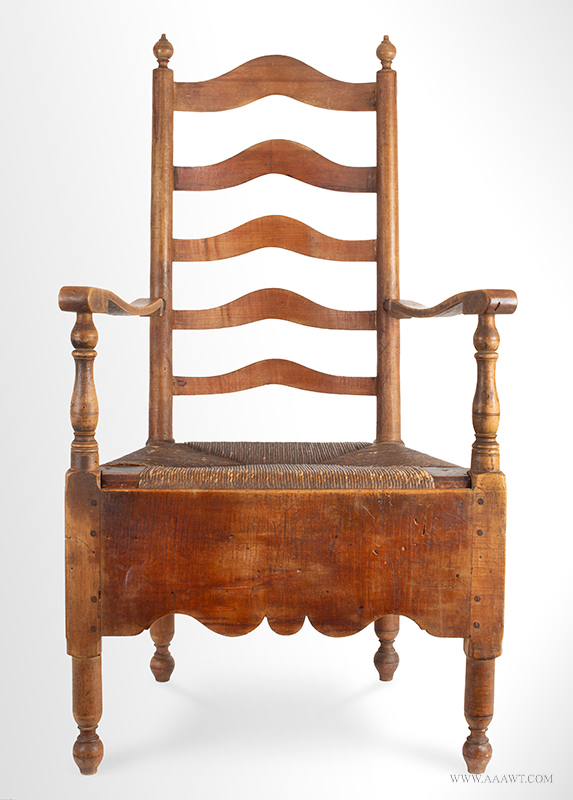 Necessary Chair, Delaware Valley, 5-Slat Ladder-back Armchair,  Deep Apron, A Superb Country Chamber Chair,  Close Chair in Original Surface,  Circa 1760, entire view