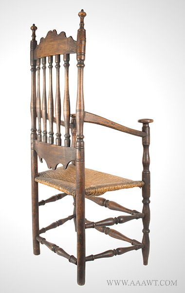 Antique, William and Mary Banister-Back Great-Chair, Outstanding Armchair Connecticut Shoreline, Rhode Island to Guilford Area, Circa 1750-1790 Displaying Exquisite Design and Masterful Craftsmanship, Great Surface, entire view 2