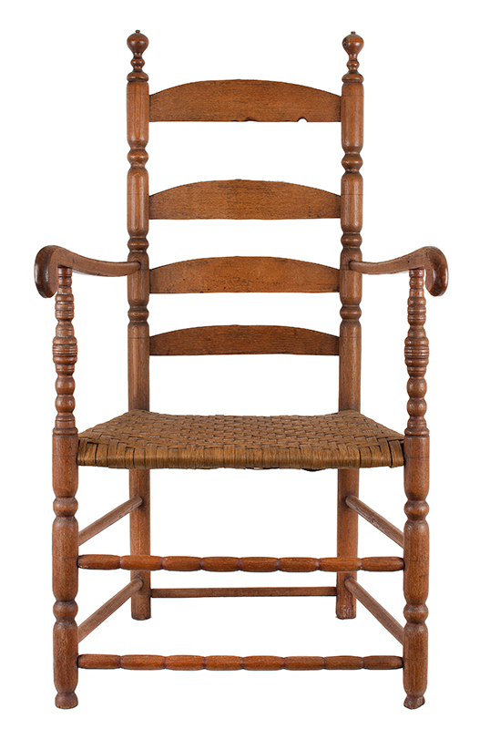 Armchair, Ladderback, Four Arched Slats, Sausage Turned