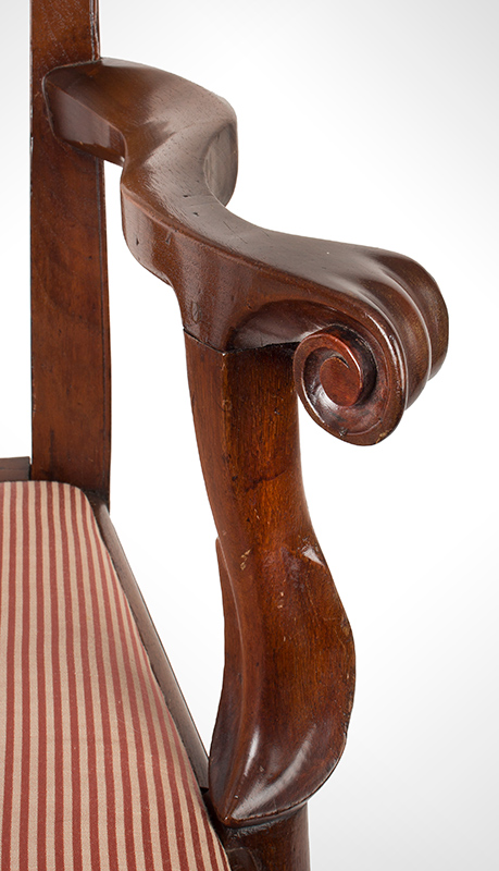 Queen Anne Armchair  Philadelphia, Pennsylvania  Walnut and pine, circa 1745 – 1760, armrest detail