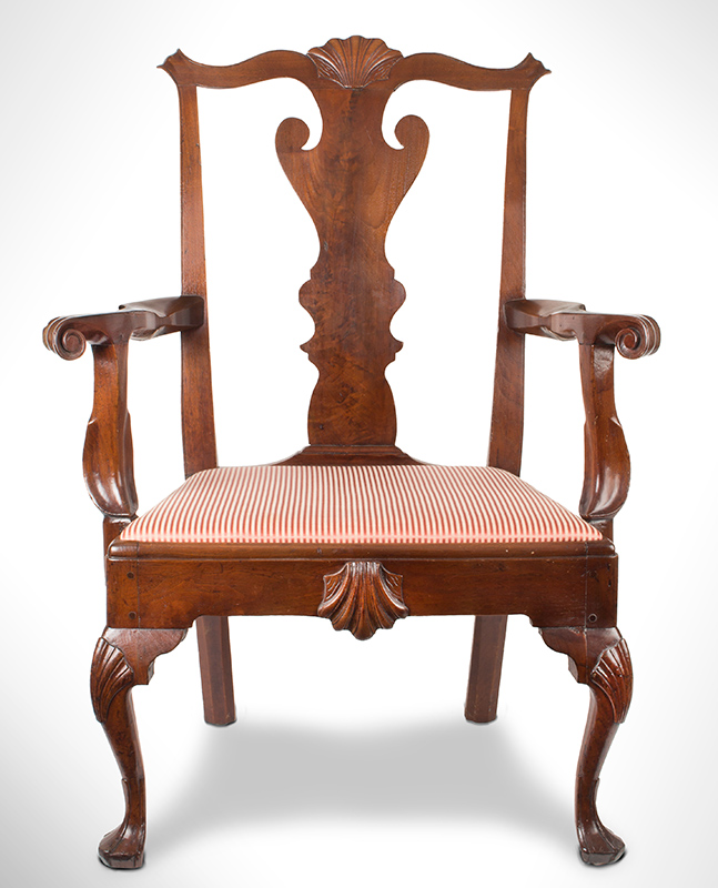 Queen Anne Armchair Philadelphia, Pennsylvania Walnut and pine, circa 1745 – 1760, entire view