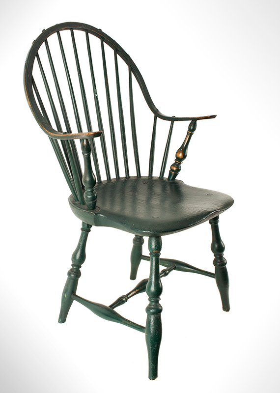 Antique Windsor Continuous Armchair, Old Green paint New England, likely Rhode Island, circa 1780-1800, entire view 1