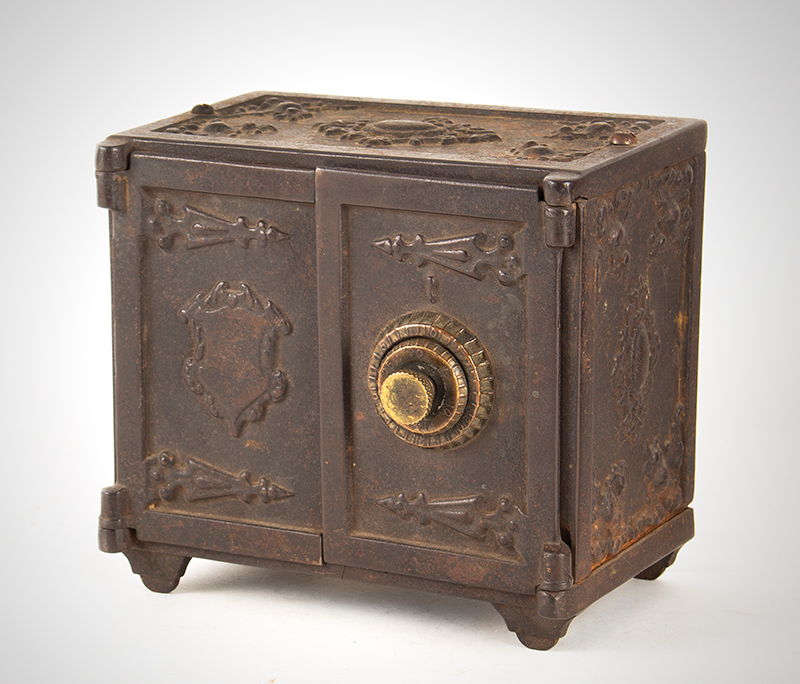 Cast Iron Double Door Medallion Safe Bank with Rarely Encountered Combination Paper, entire view