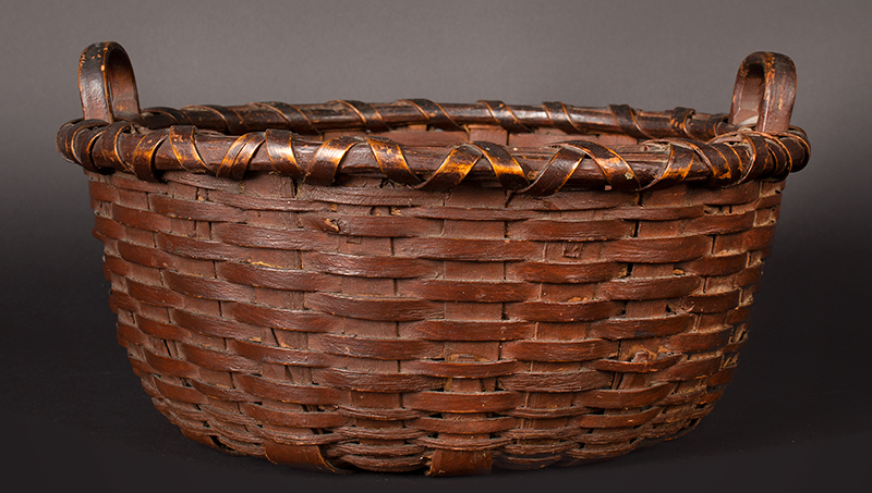 Round Utility Basket, Original Paint Henry Harris, Litchfield, County, CT 19th Century, entire view