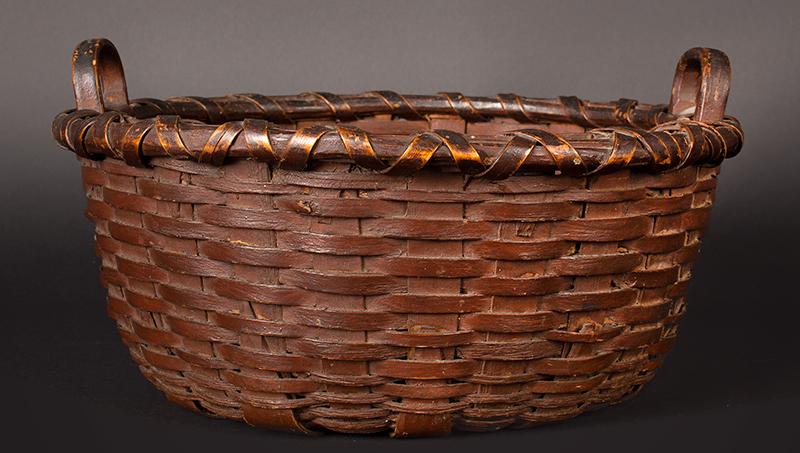 Round Utility Basket, Original Paint Henry Harris, Litchfield, County, CT 19th Century, entire view