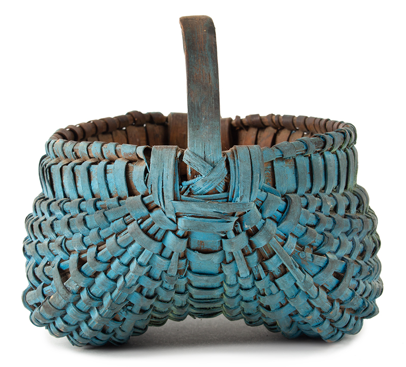 Antique Buttocks Basket, Miniature, Bentwood Handle, OLD BLUE PAINT Anonymous maker, circa 1850-1900, entire view 1