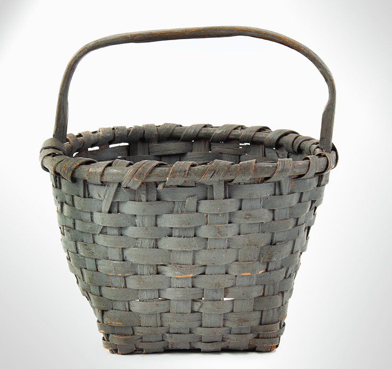 19th Century Splint Gathering Berry Basket, Painted New England, circa 1870-1890  Round Rim, Square Bottom, Possibly Indian Made, entire view 1