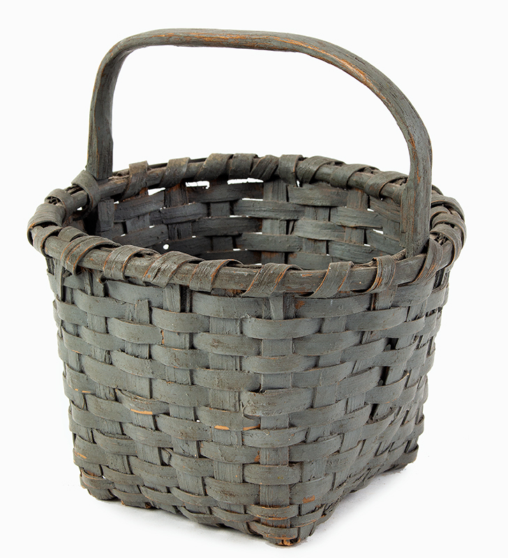 19th Century Splint Gathering Berry Basket, Painted New England, circa 1870-1890  Round Rim, Square Bottom, Possibly Indian Made, entire view 2