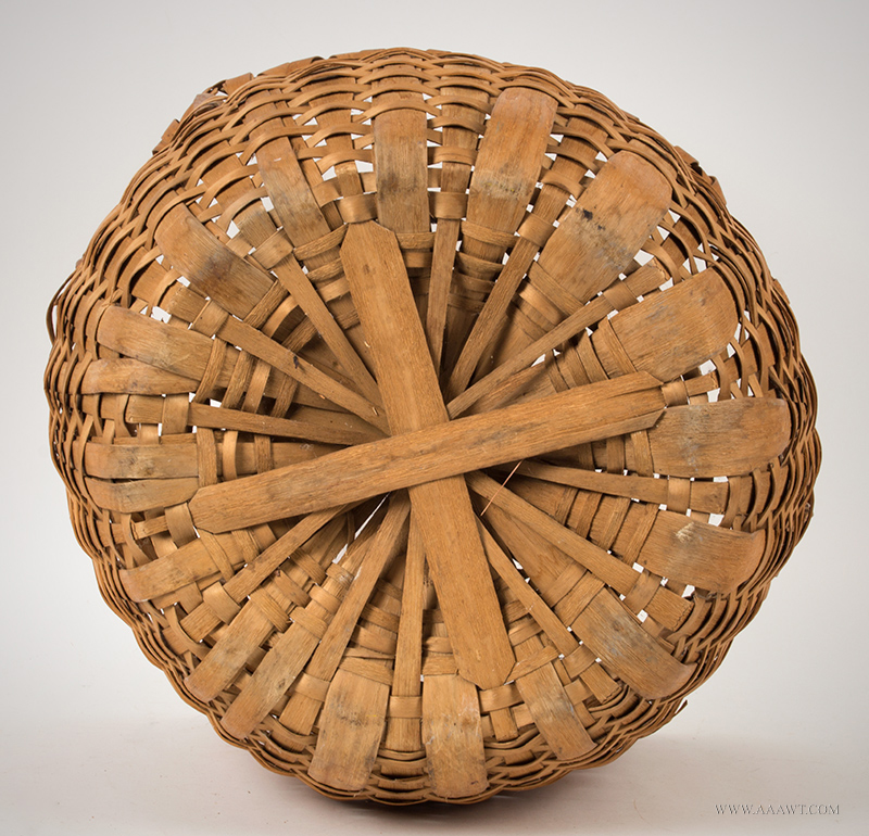 Ash Splint Field or Clothes Work Basket New England, early 20th century