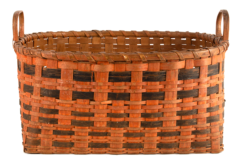 Antique Work Basket in Original Bittersweet and Black Paint, Ash Splint, Carved & Notched Handle New England, Possibly Maine, 19th Century, entire view 2
