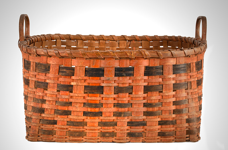 Antique Work Basket in Original Bittersweet and Black Paint, Ash Splint, Carved & Notched Handle New England, Possibly Maine, 19th Century, entire view 3