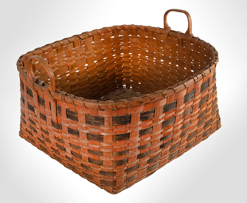 Antique Work Basket in Original Bittersweet and Black Paint, Ash Splint, Carved & Notched Handle New England, Possibly Maine, 19th Century, entire view 4