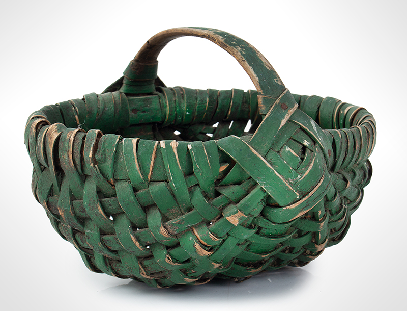 19th Century Small Green Painted Splint Melon Basket, entire view 2